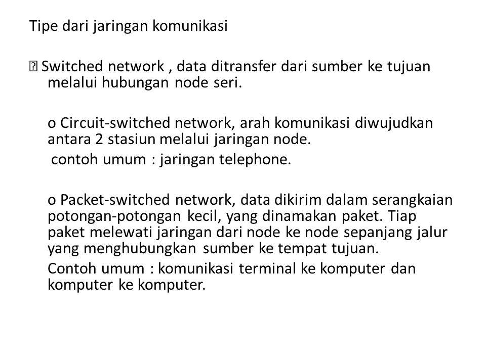 Tipe dari jaringan komunikasi  Switched network , data ditransfer dari sumber ke tujuan melalui hubungan node seri.