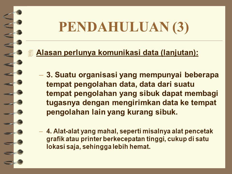 PENDAHULUAN (3) Alasan perlunya komunikasi data (lanjutan):