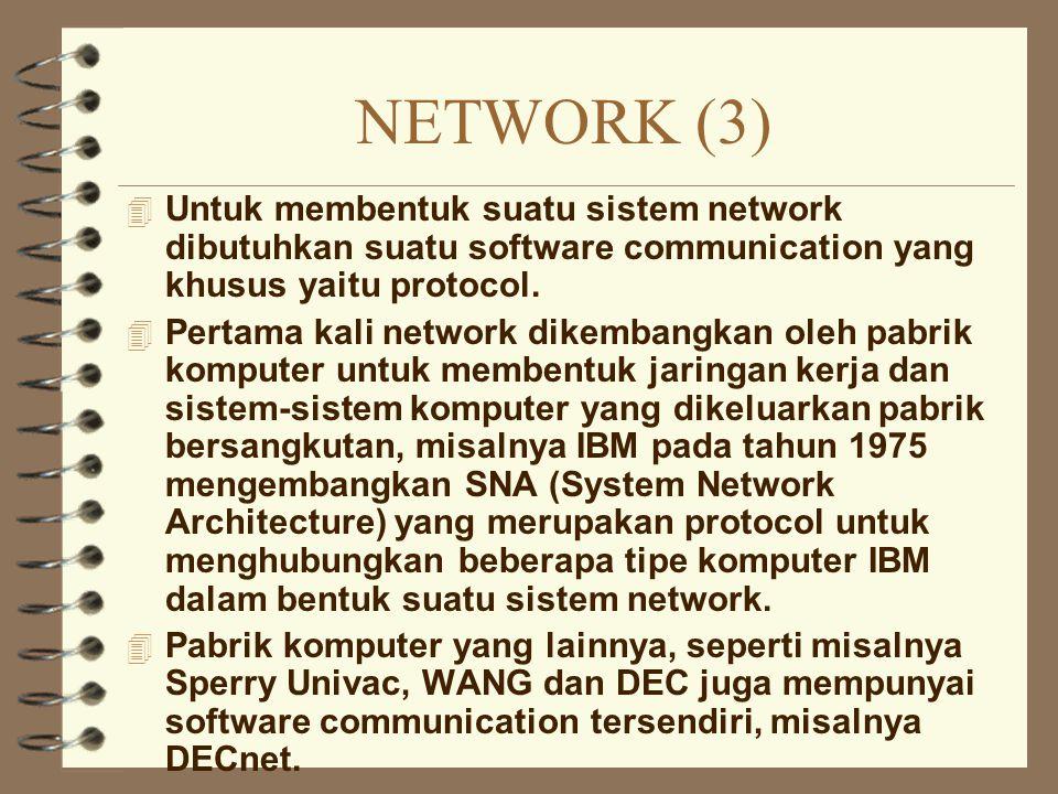 NETWORK (3) Untuk membentuk suatu sistem network dibutuhkan suatu software communication yang khusus yaitu protocol.