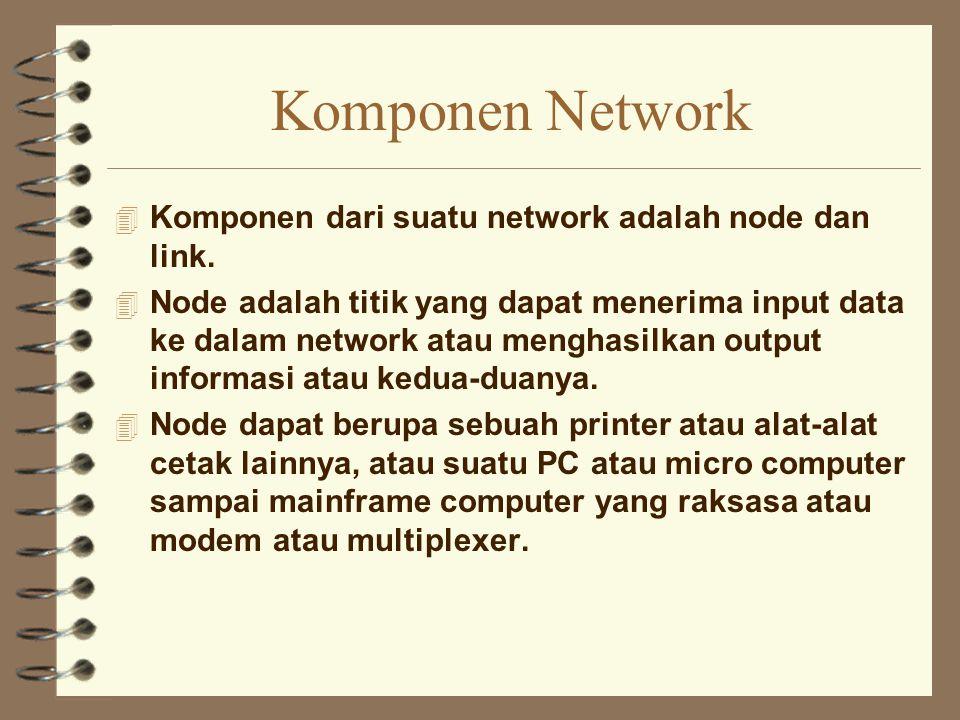 Komponen Network Komponen dari suatu network adalah node dan link.