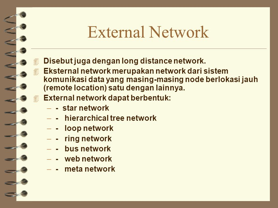 External Network Disebut juga dengan long distance network.