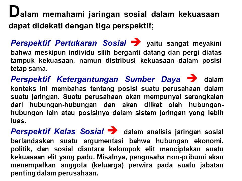 Dalam memahami jaringan sosial dalam kekuasaan dapat didekati dengan tiga perspektif;