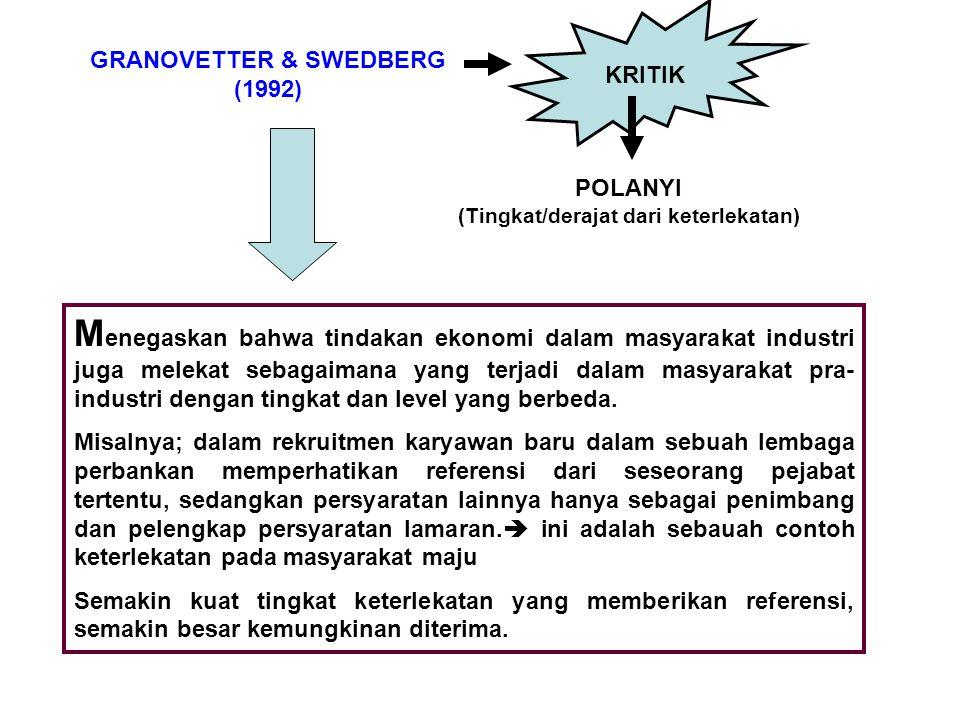 GRANOVETTER & SWEDBERG (Tingkat/derajat dari keterlekatan)
