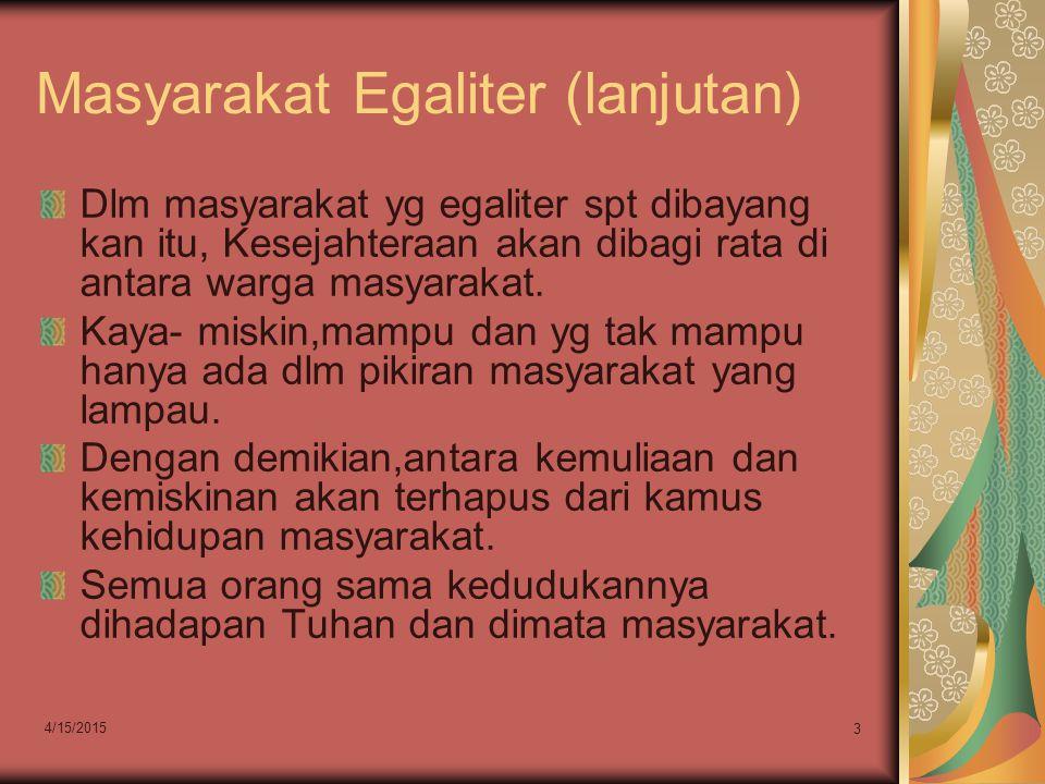 Masyarakat Egaliter (lanjutan)