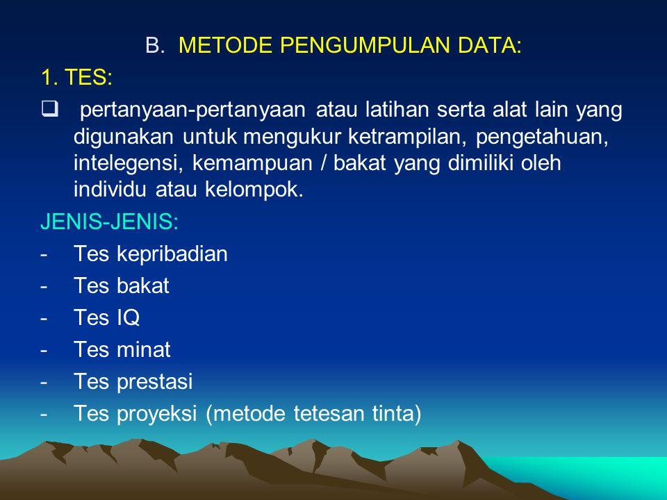 METODE PENGUMPULAN DATA: