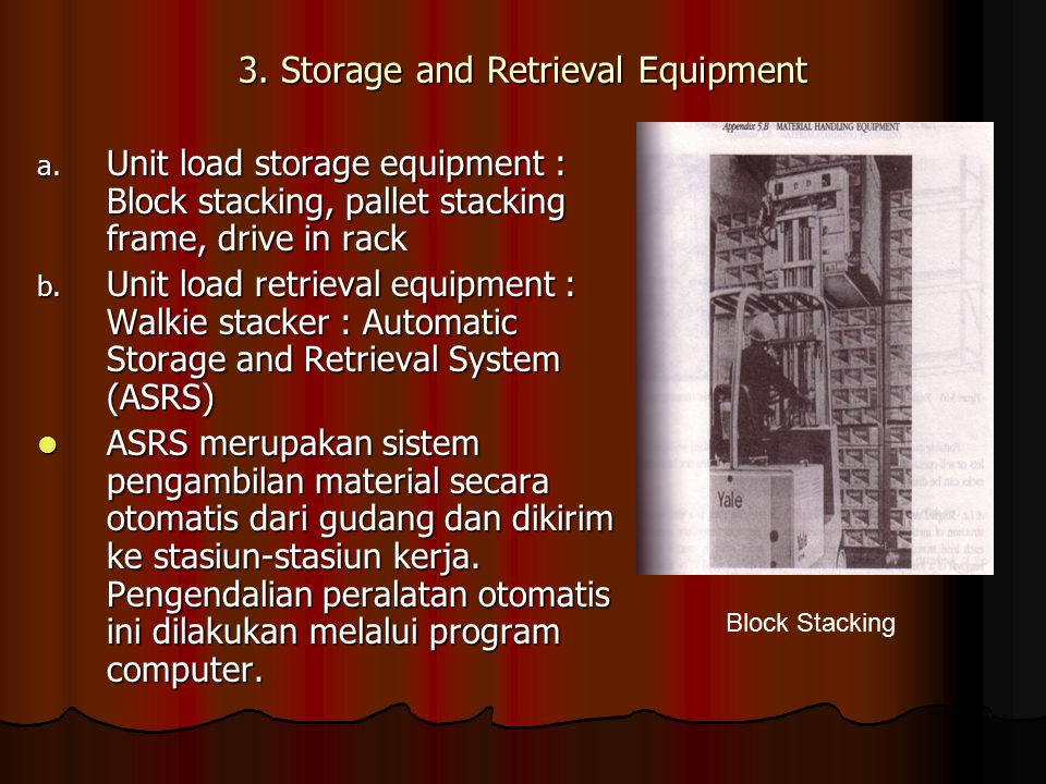3. Storage and Retrieval Equipment