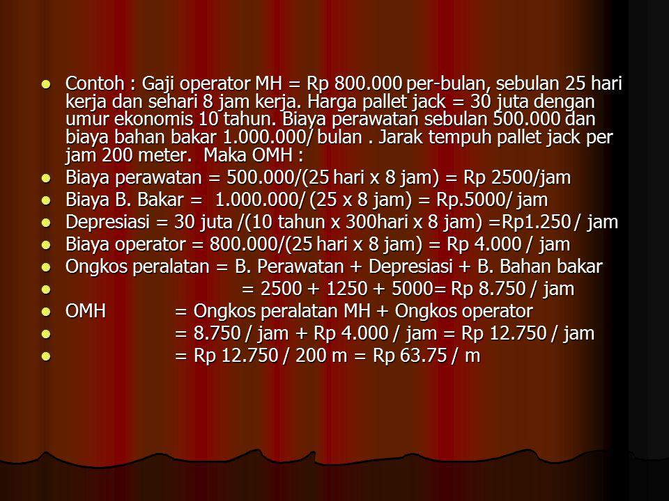 Contoh : Gaji operator MH = Rp 800