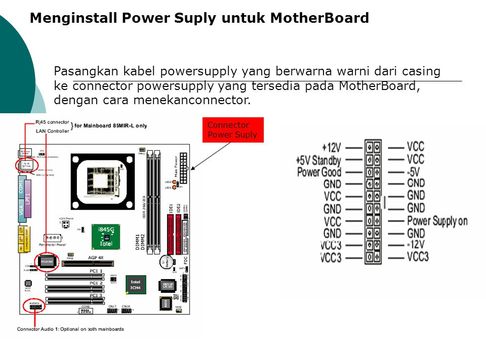 Menginstall Power Suply untuk MotherBoard