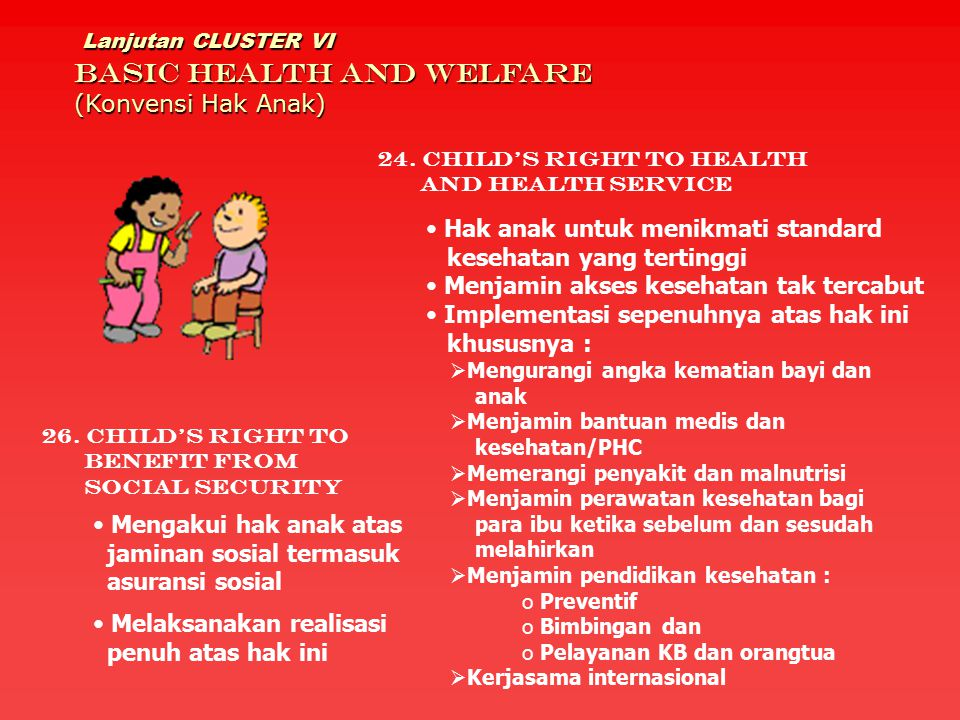 Lanjutan CLUSTER VI BASIC HEALTH AND WELFARE (Konvensi Hak Anak)