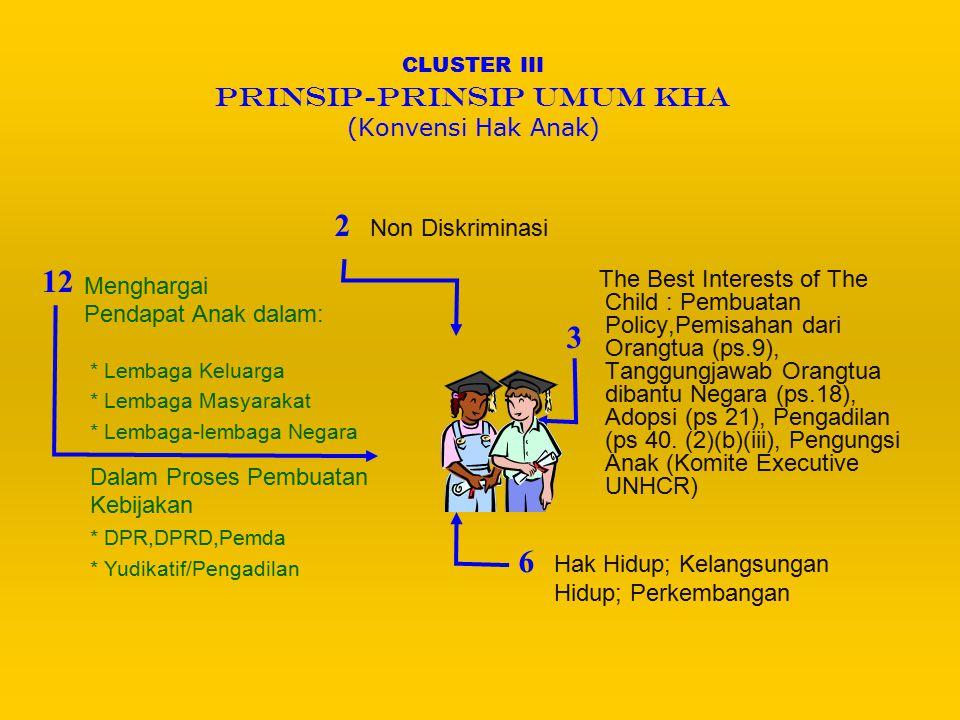CLUSTER III PRINSIP-PRINSIP UMUM KHA (Konvensi Hak Anak)