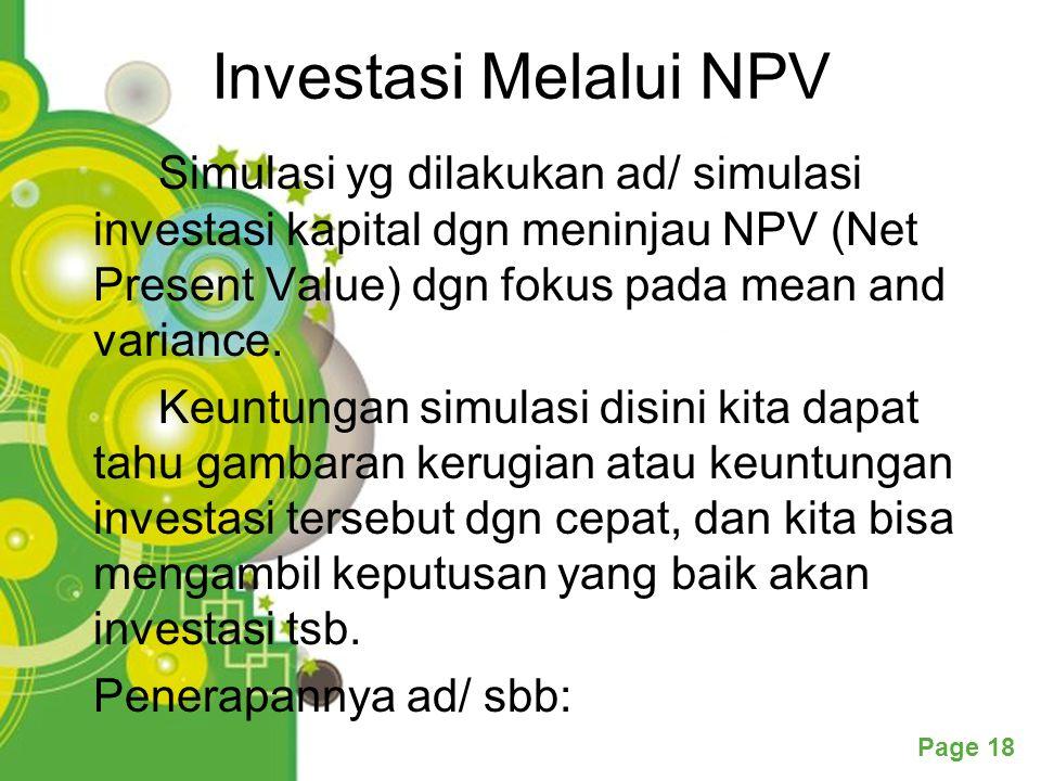 Investasi Melalui NPV