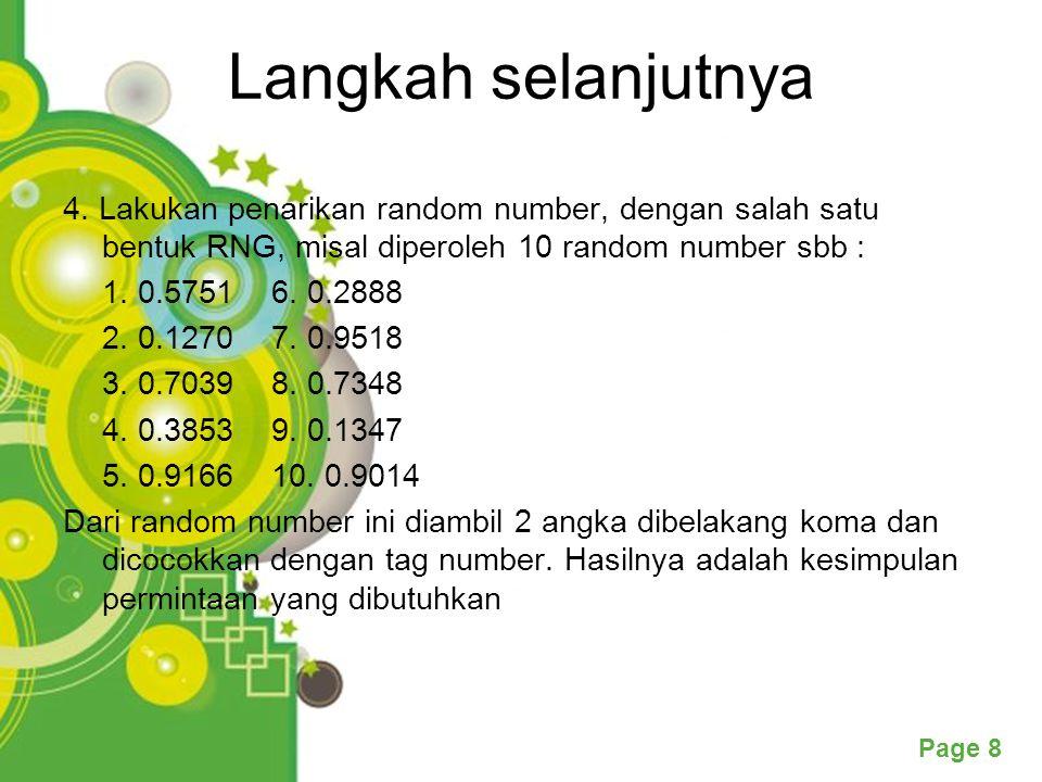 Langkah selanjutnya 4. Lakukan penarikan random number, dengan salah satu bentuk RNG, misal diperoleh 10 random number sbb :