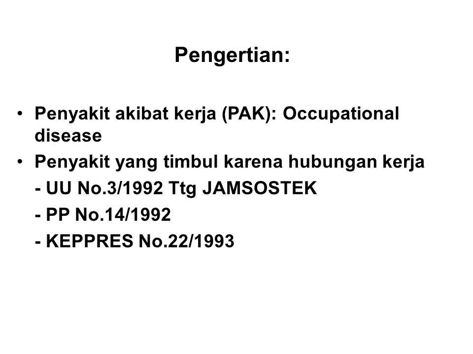 Pengertian: Penyakit akibat kerja (PAK): Occupational disease