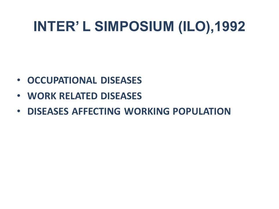 INTER' L SIMPOSIUM (ILO),1992