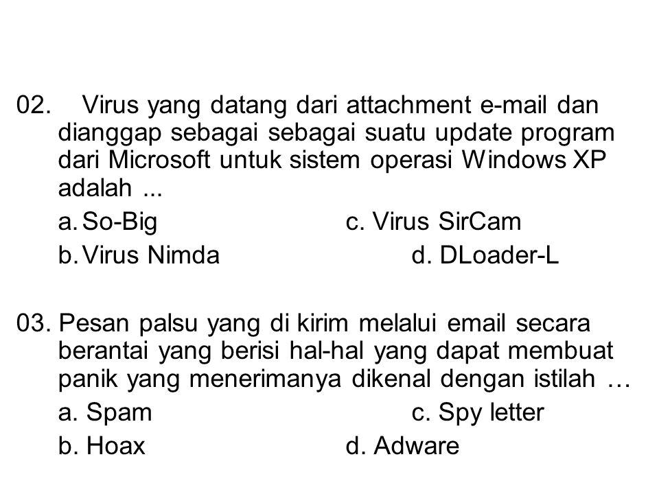 02. Virus yang datang dari attachment e-mail dan dianggap sebagai sebagai suatu update program dari Microsoft untuk sistem operasi Windows XP adalah ...