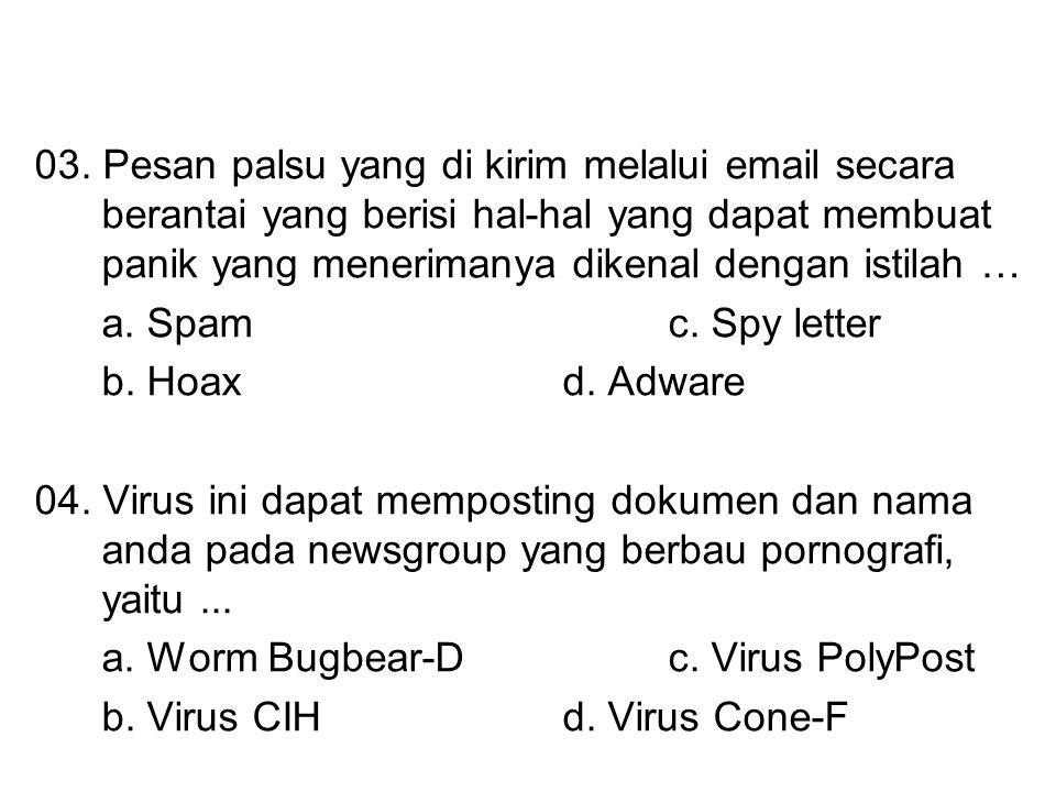 03. Pesan palsu yang di kirim melalui email secara berantai yang berisi hal-hal yang dapat membuat panik yang menerimanya dikenal dengan istilah …