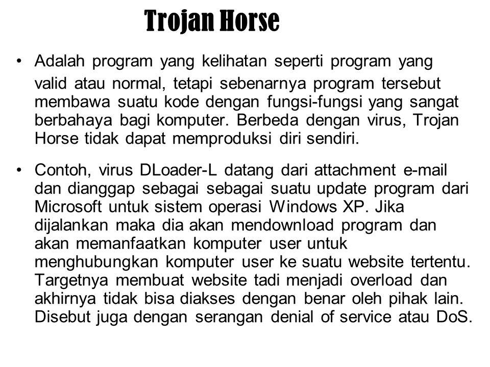 Trojan Horse Adalah program yang kelihatan seperti program yang