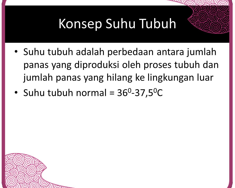 Konsep Suhu Tubuh Suhu tubuh adalah perbedaan antara jumlah panas yang diproduksi oleh proses tubuh dan jumlah panas yang hilang ke lingkungan luar.