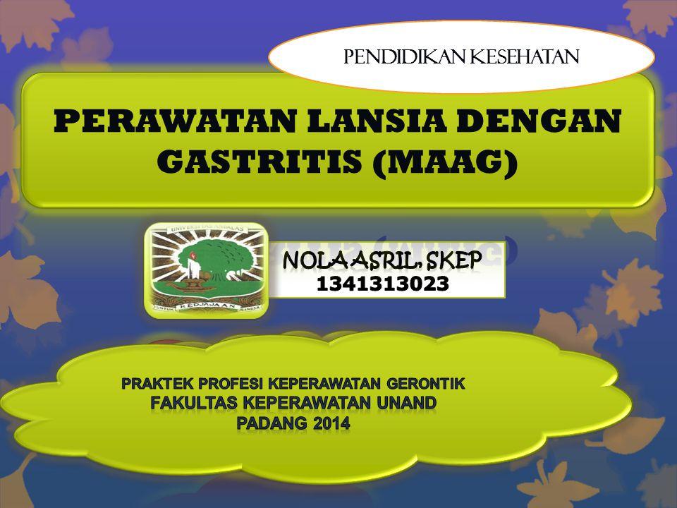 PERAWATAN LANSIA DENGAN GASTRITIS (MAAG)
