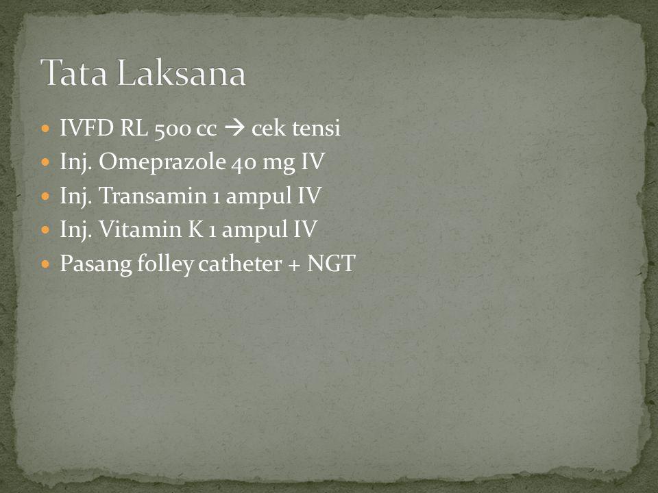 Tata Laksana IVFD RL 500 cc  cek tensi Inj. Omeprazole 40 mg IV