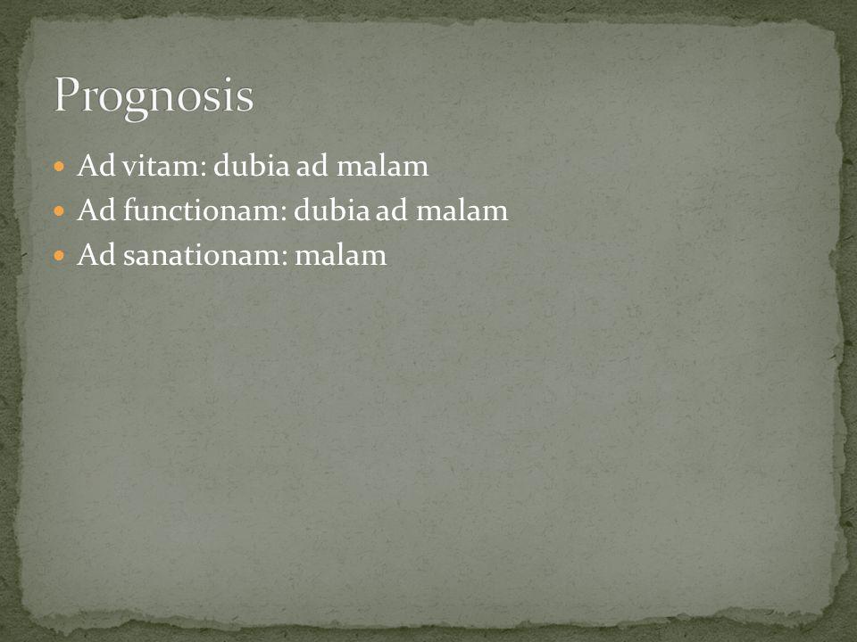 Prognosis Ad vitam: dubia ad malam Ad functionam: dubia ad malam