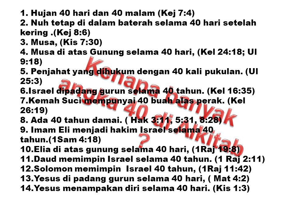 Kenapa banyak angka 40 di Alkitab
