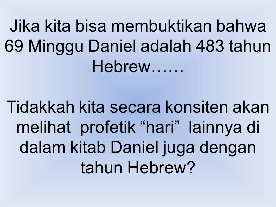Jika kita bisa membuktikan bahwa 69 Minggu Daniel adalah 483 tahun Hebrew……