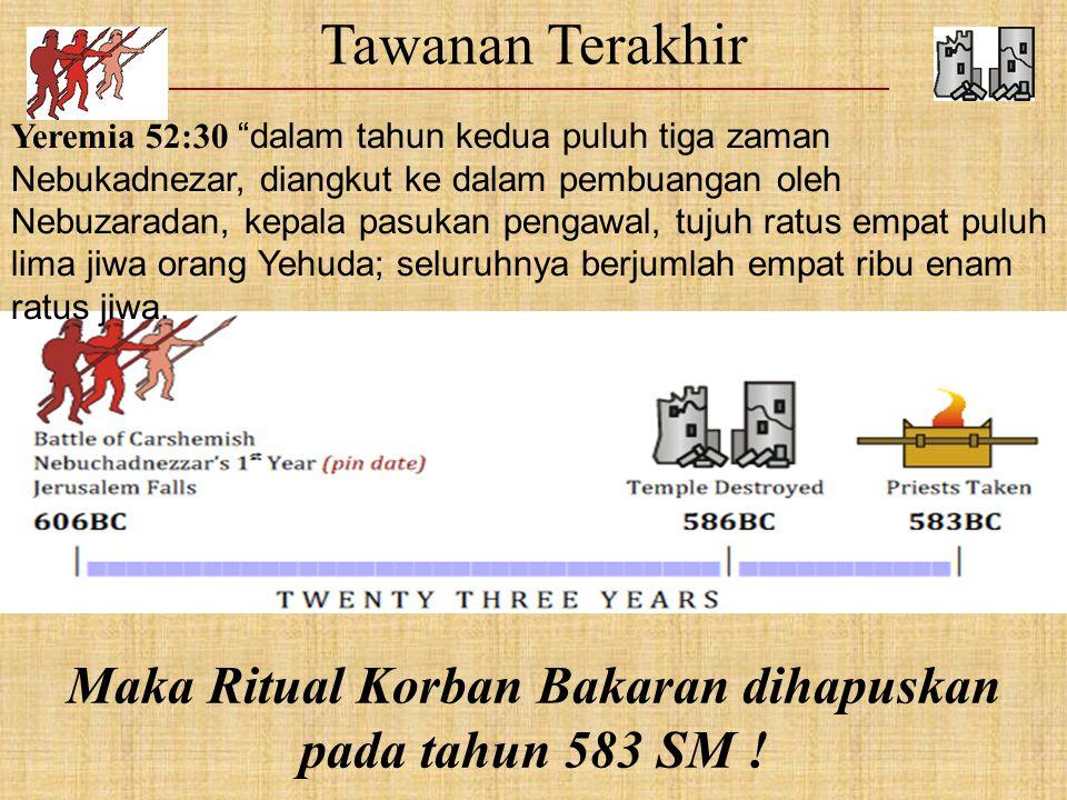 Maka Ritual Korban Bakaran dihapuskan pada tahun 583 SM !