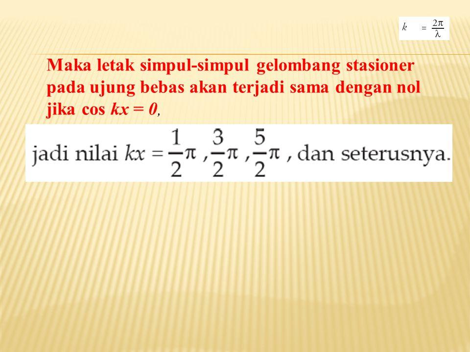 Maka letak simpul-simpul gelombang stasioner pada ujung bebas akan terjadi sama dengan nol jika cos kx = 0,