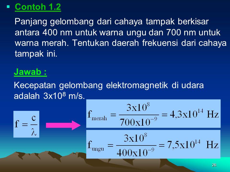 Contoh 1.3 Sinar-x mempunyai panjang gelombang yang berkisar antara (0,01 – 5) nm. Tentukan daerah frekuensi dari sinar-x ini.