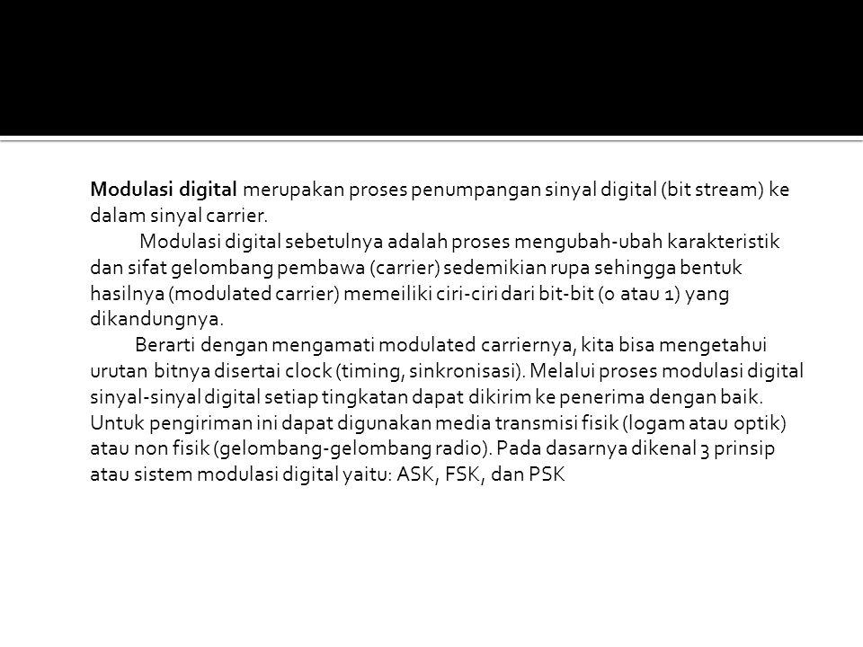 Modulasi digital merupakan proses penumpangan sinyal digital (bit stream) ke dalam sinyal carrier.