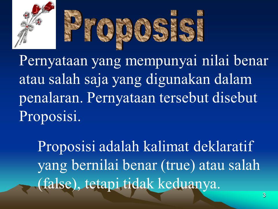 Proposisi Pernyataan yang mempunyai nilai benar atau salah saja yang digunakan dalam penalaran. Pernyataan tersebut disebut Proposisi.