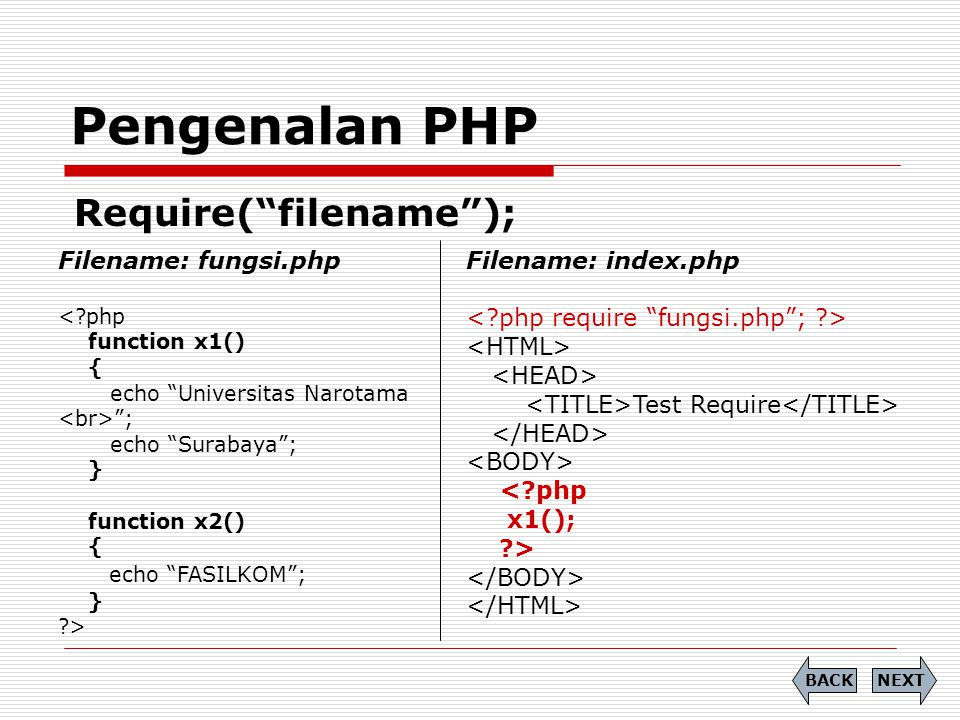 Pengenalan PHP Require( filename ); Filename: fungsi.php