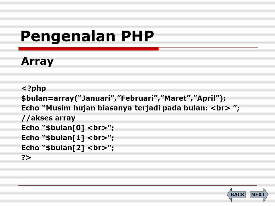 Pengenalan PHP Array < php