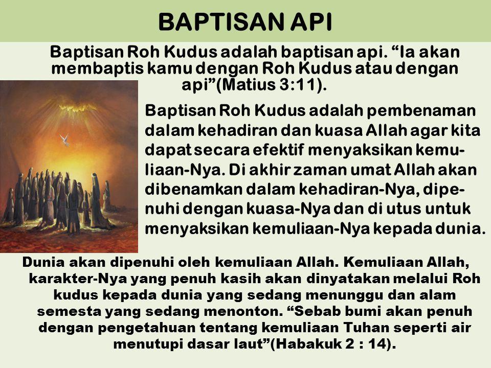 BAPTISAN API Baptisan Roh Kudus adalah baptisan api. Ia akan membaptis kamu dengan Roh Kudus atau dengan api (Matius 3:11).