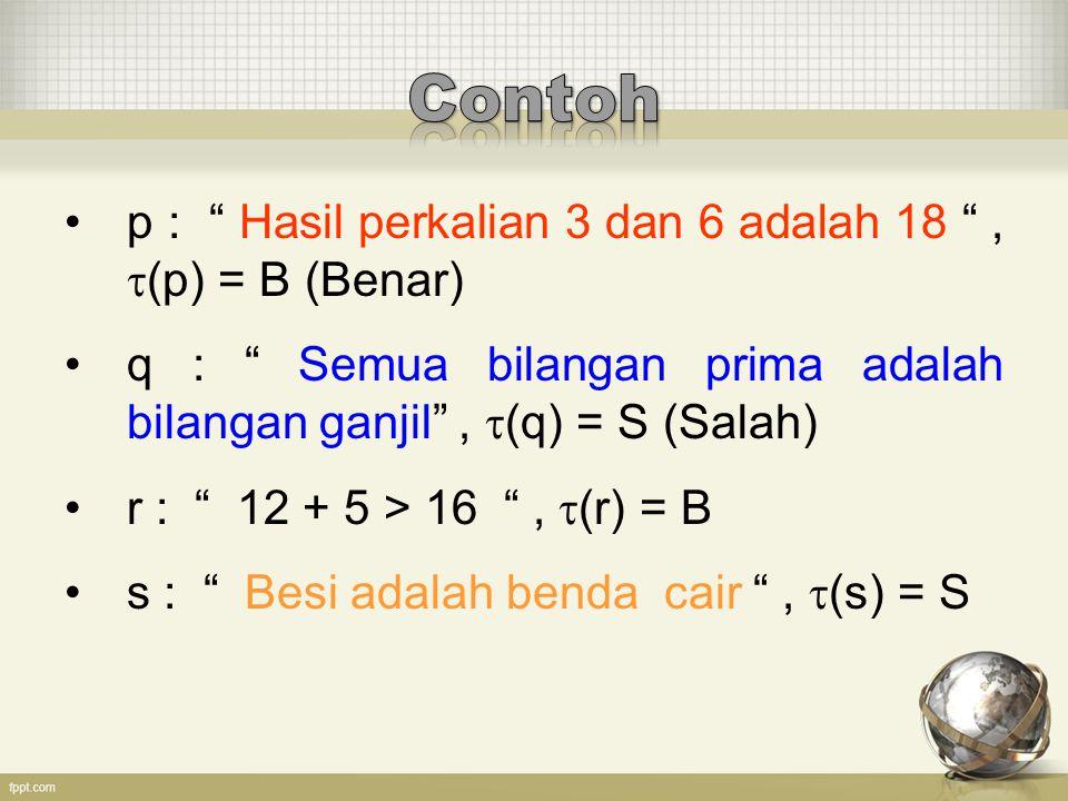Contoh p : Hasil perkalian 3 dan 6 adalah 18 , (p) = B (Benar)