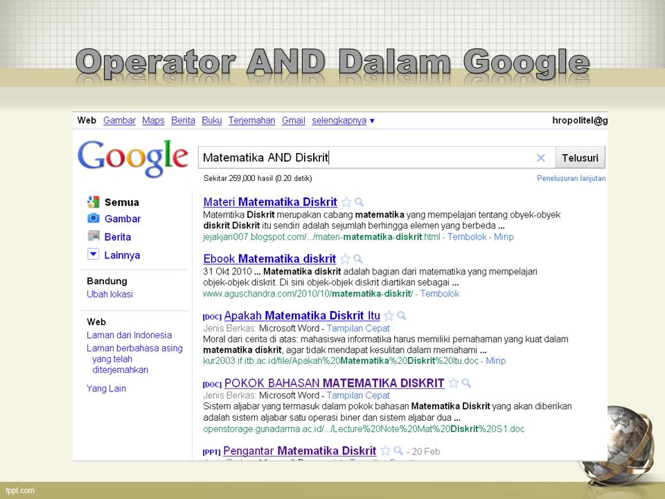 Operator AND Dalam Google