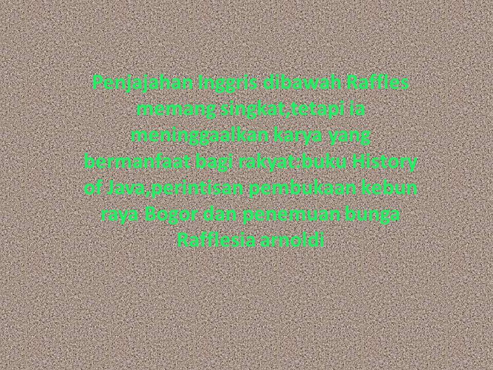 Penjajahan Inggris dibawah Raffles memang singkat,tetapi ia meninggaalkan karya yang bermanfaat bagi rakyat:buku History of Java,perintisan pembukaan kebun raya Bogor dan penemuan bunga Rafflesia arnoldi