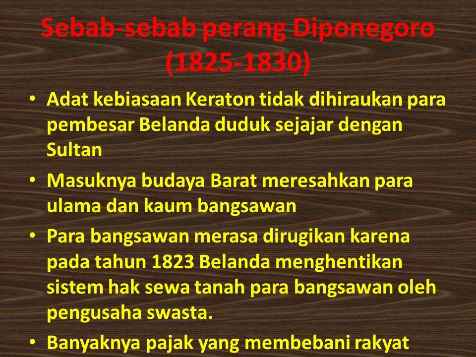 Sebab-sebab perang Diponegoro (1825-1830)