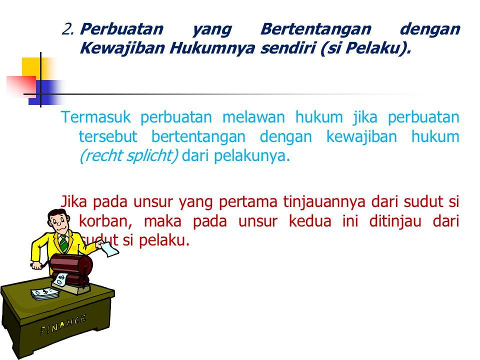 2. Perbuatan yang Bertentangan dengan Kewajiban Hukumnya sendiri (si Pelaku).