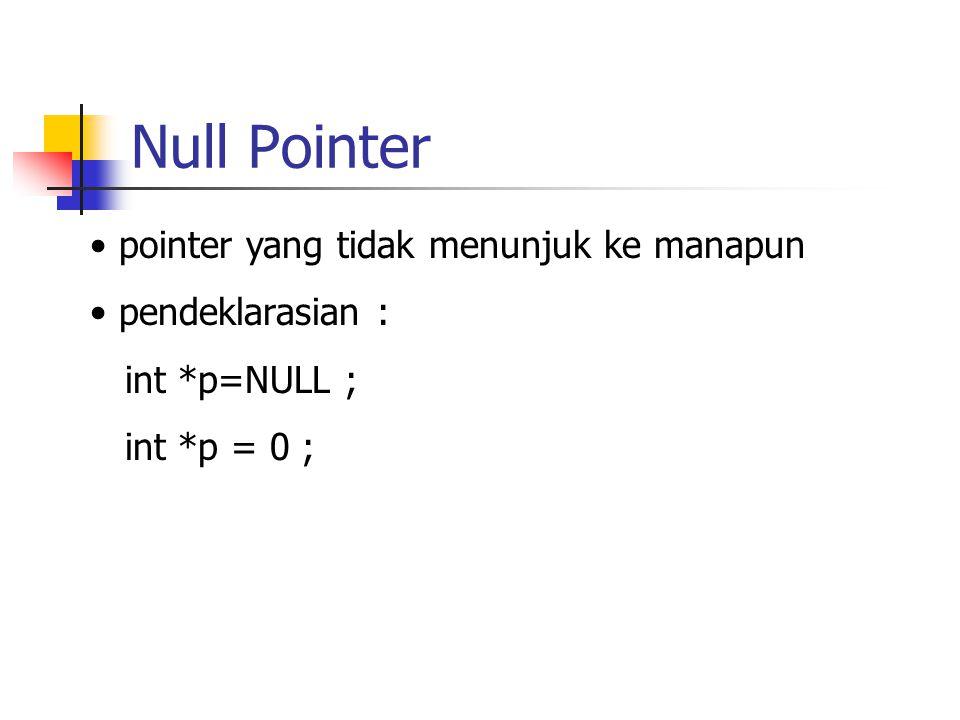 Null Pointer pointer yang tidak menunjuk ke manapun pendeklarasian :