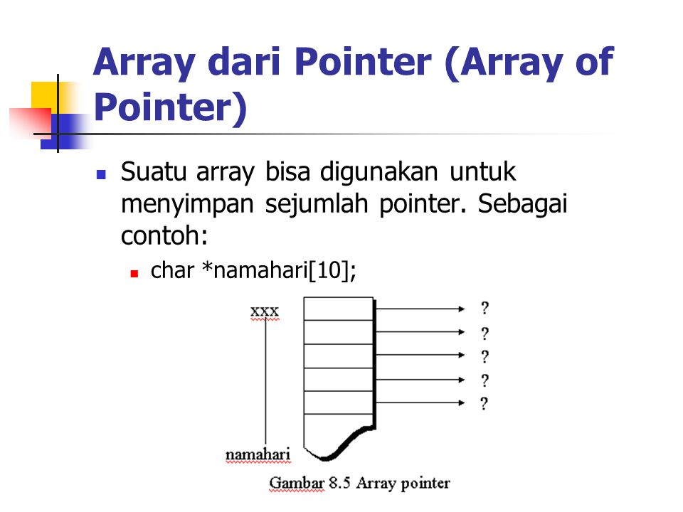 Array dari Pointer (Array of Pointer)