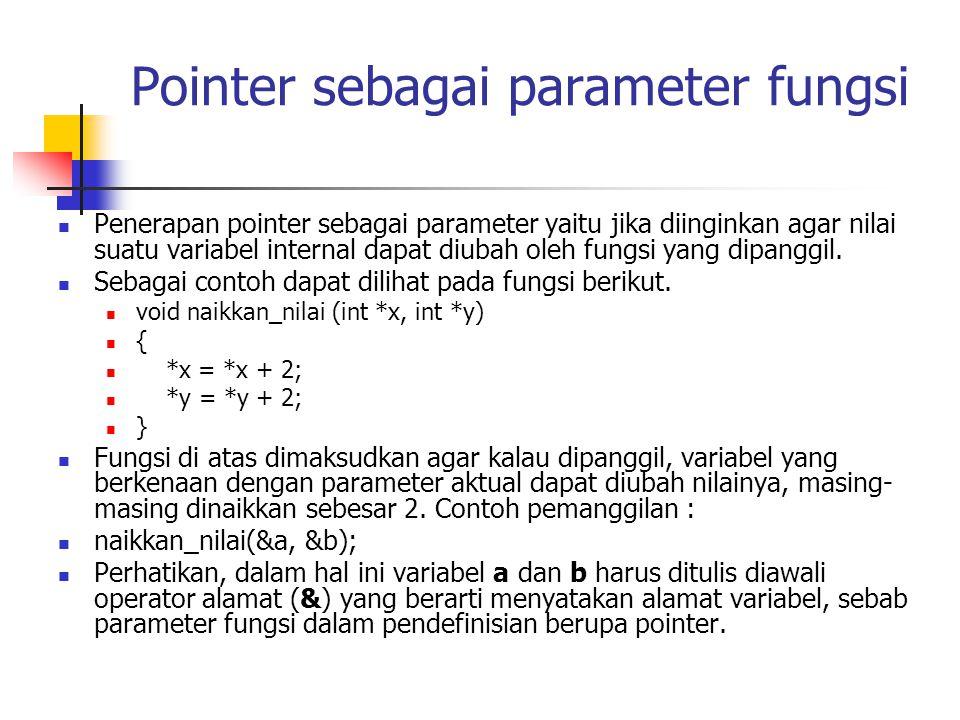 Pointer sebagai parameter fungsi