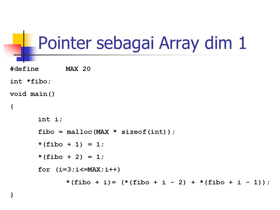 Pointer sebagai Array dim 1