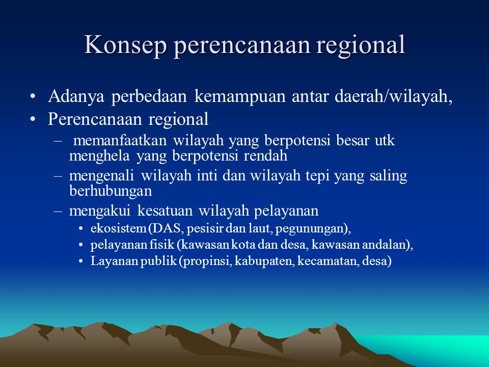Konsep perencanaan regional