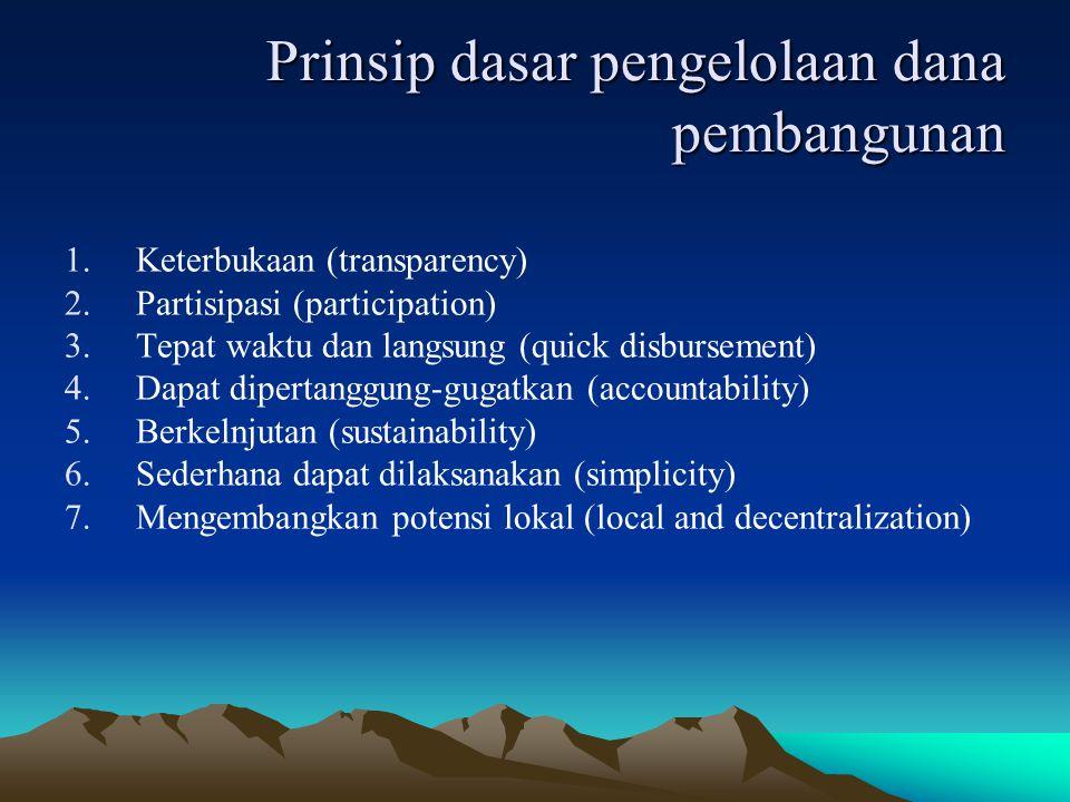 Prinsip dasar pengelolaan dana pembangunan