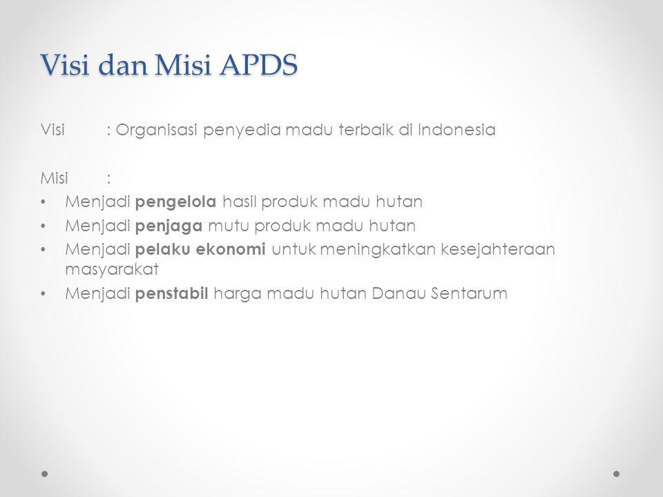 Visi dan Misi APDS Visi : Organisasi penyedia madu terbaik di Indonesia. Misi : Menjadi pengelola hasil produk madu hutan.