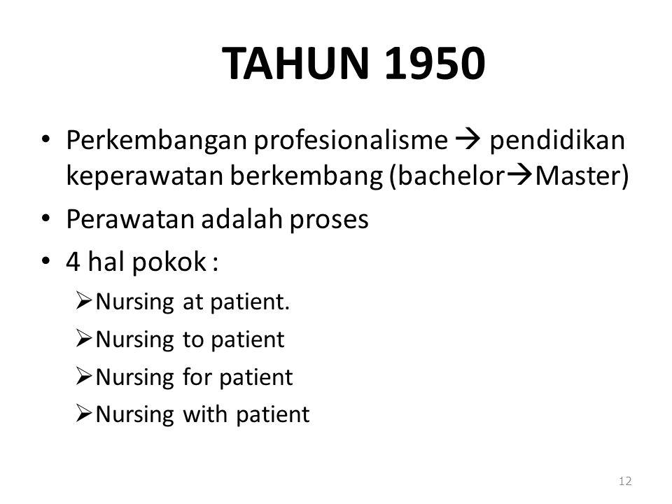 TAHUN 1950 Perkembangan profesionalisme  pendidikan keperawatan berkembang (bachelorMaster) Perawatan adalah proses.