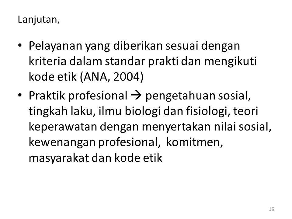 Lanjutan, Pelayanan yang diberikan sesuai dengan kriteria dalam standar prakti dan mengikuti kode etik (ANA, 2004)