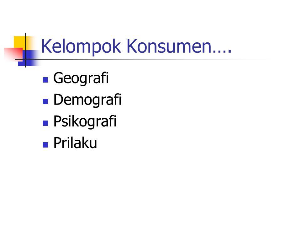 Kelompok Konsumen…. Geografi Demografi Psikografi Prilaku